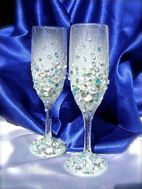 Мастер класс оформление бокалов на свадьбу