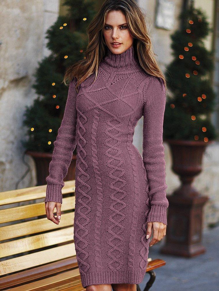 Зимние платья связанные спицами