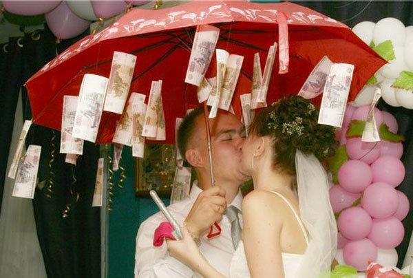 Зонт с деньгами поздравление