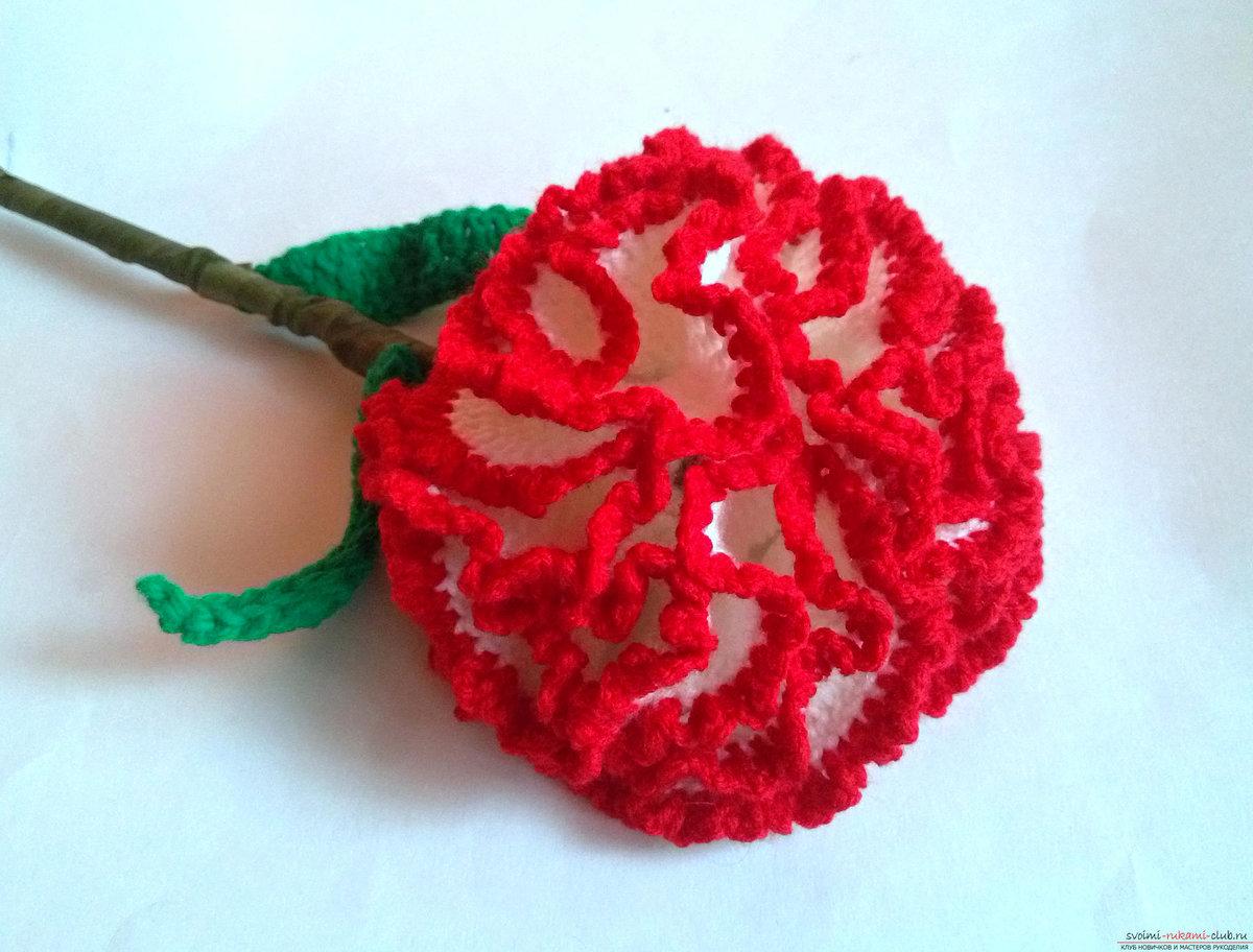 Роза своими руками на крючке 1170
