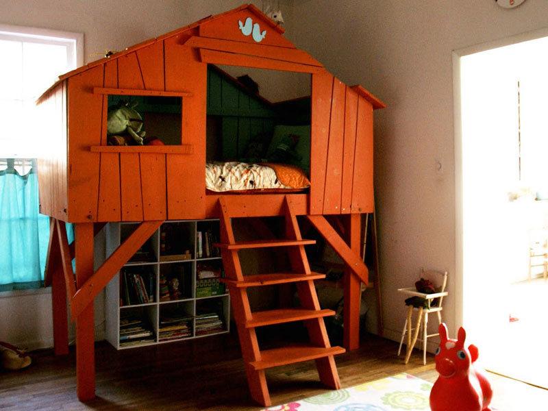 Детские двухэтажные домики своими руками