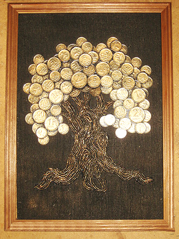 Картина денежное дерево из монет мастер класс с пошаговым фото