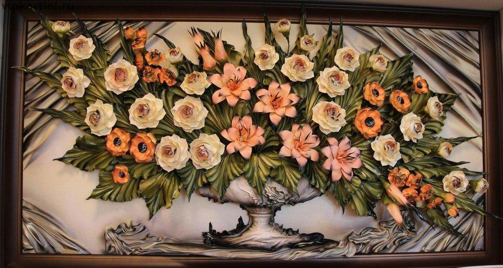 Объемные картины цветы своими руками 52