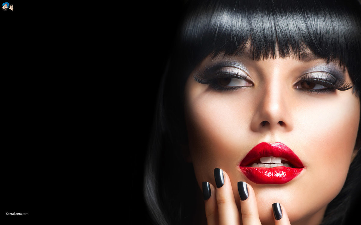 Красные губы макияж для брюнеток