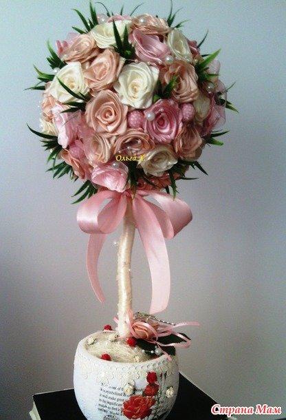 Розы на топиарий из атласных лент своими руками