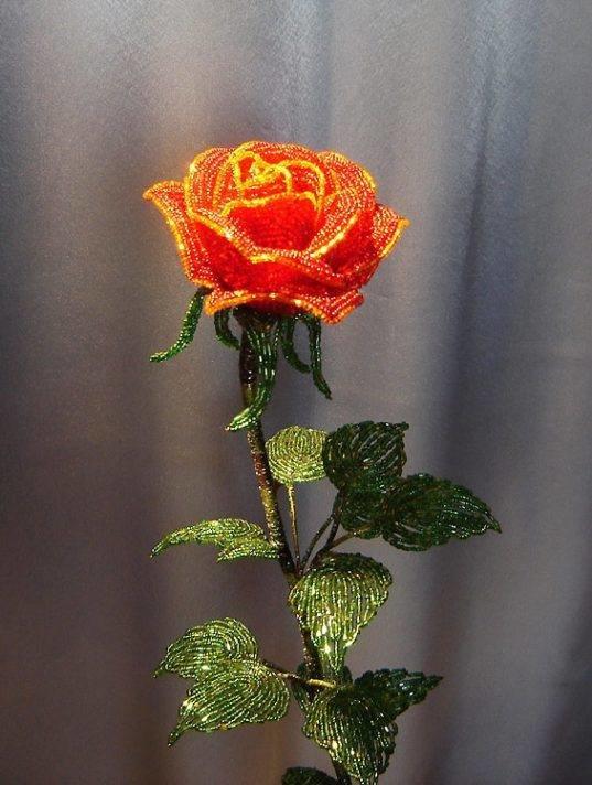 Роза из бисера мастер класс с пошаговым фото большая