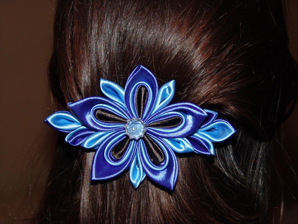 Как сделать заколки для волос из атласных лент8