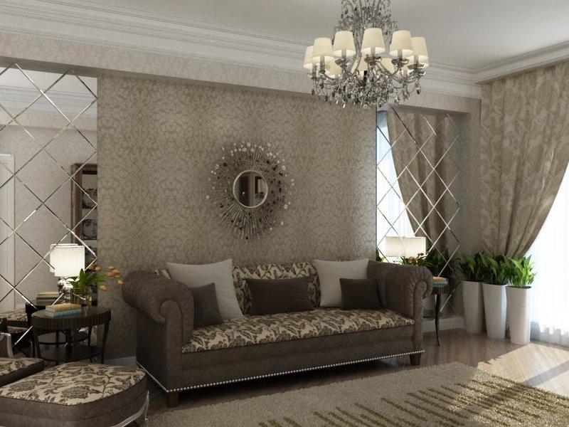 Зеркальная плитка в гостиной дизайн