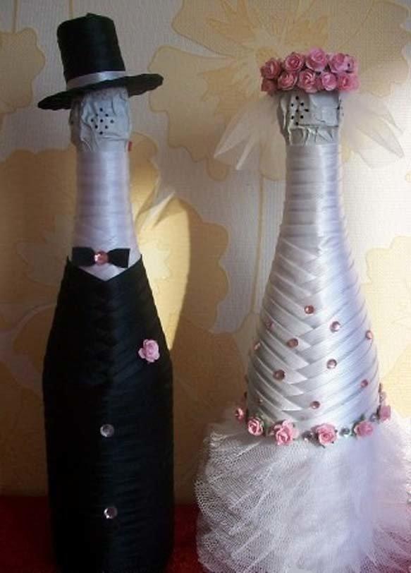 Бутылки к свадьбе своими руками мастер класс