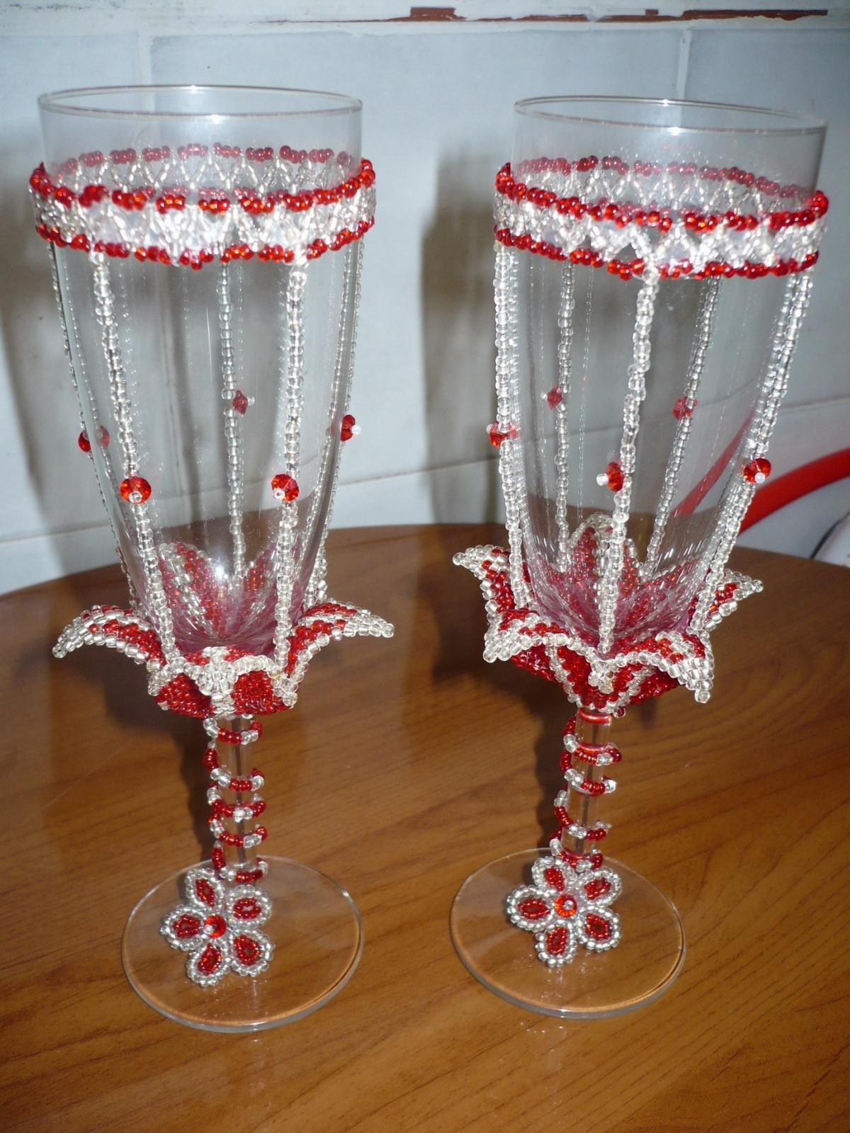 Свадебные бокалы бисер фото
