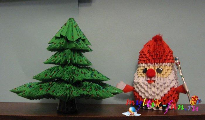 Оригами с модулей на новый год