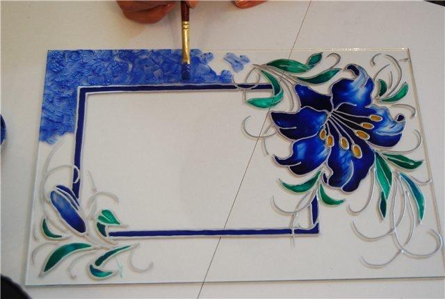 Нанесение рисунка на стекло своими рук
