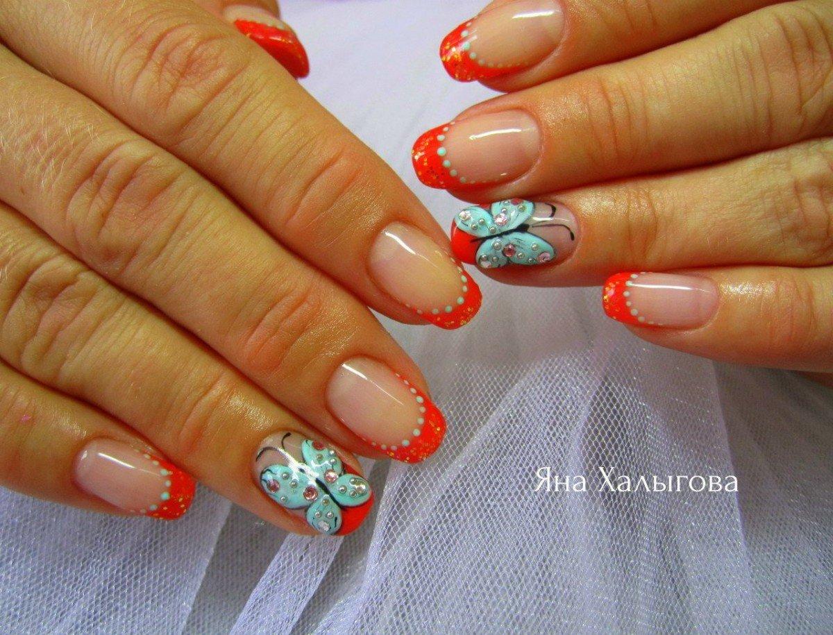 Дизайн ногтей с бабочками френч