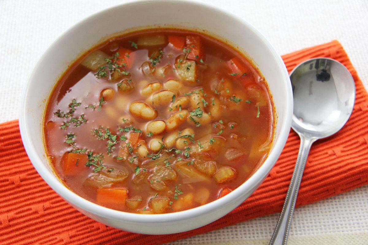 Пошаговый рецепт супа из консервированной фасоли