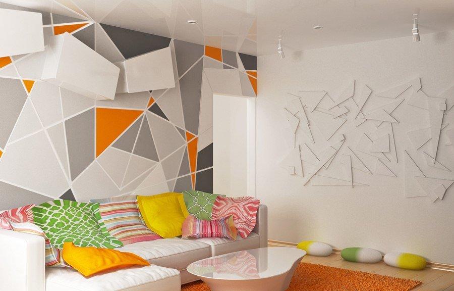 Дизайн стены с фигурами