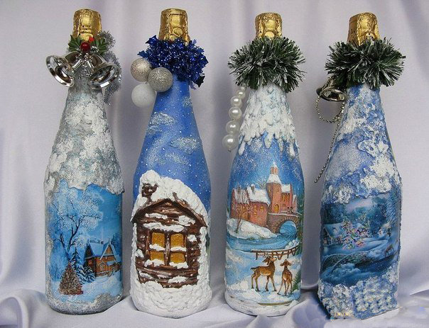 Декорирование бутылок своими руками новый год