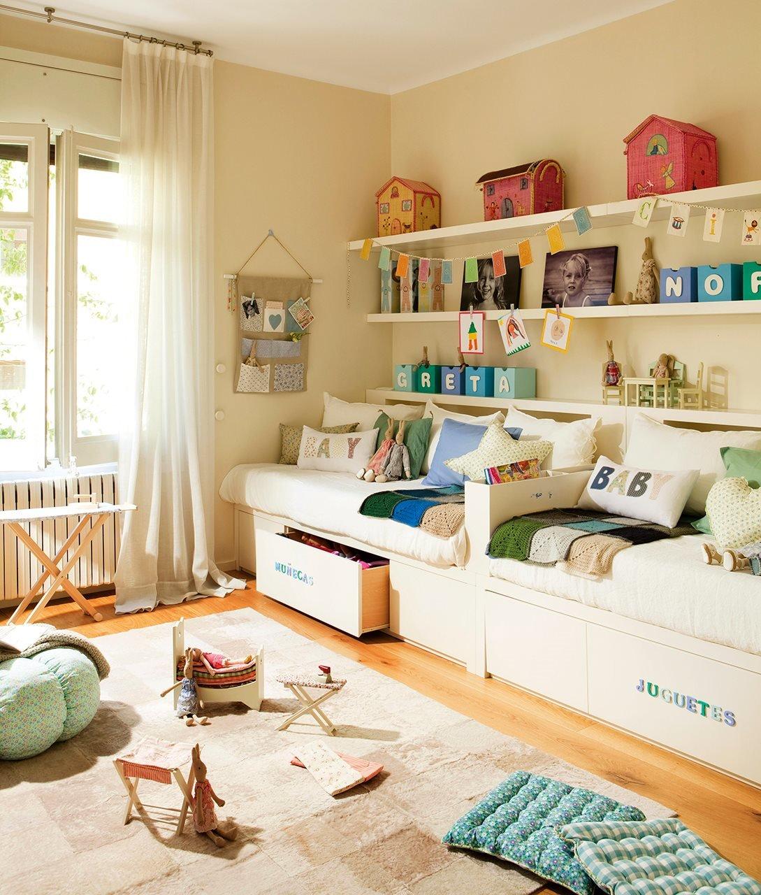 Детская комната для двоих детей : 75 фото идей дизайна