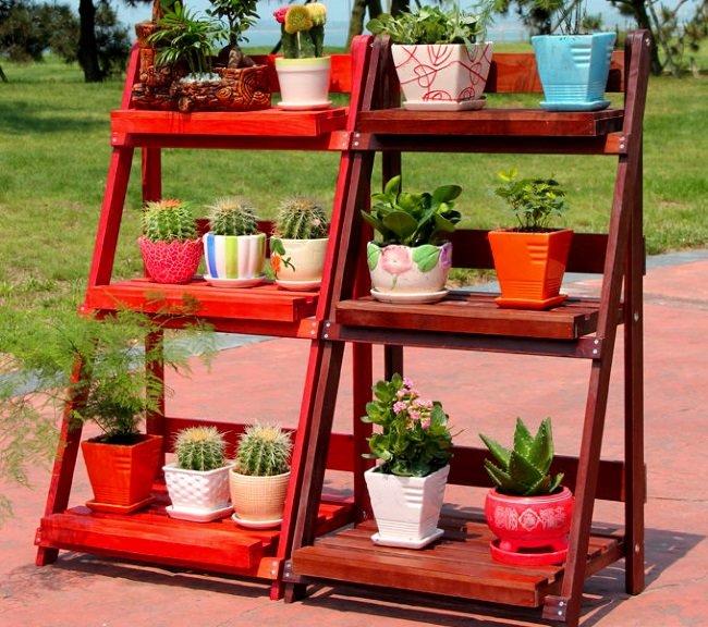 Садовые этажерки для цветов своими руками 31