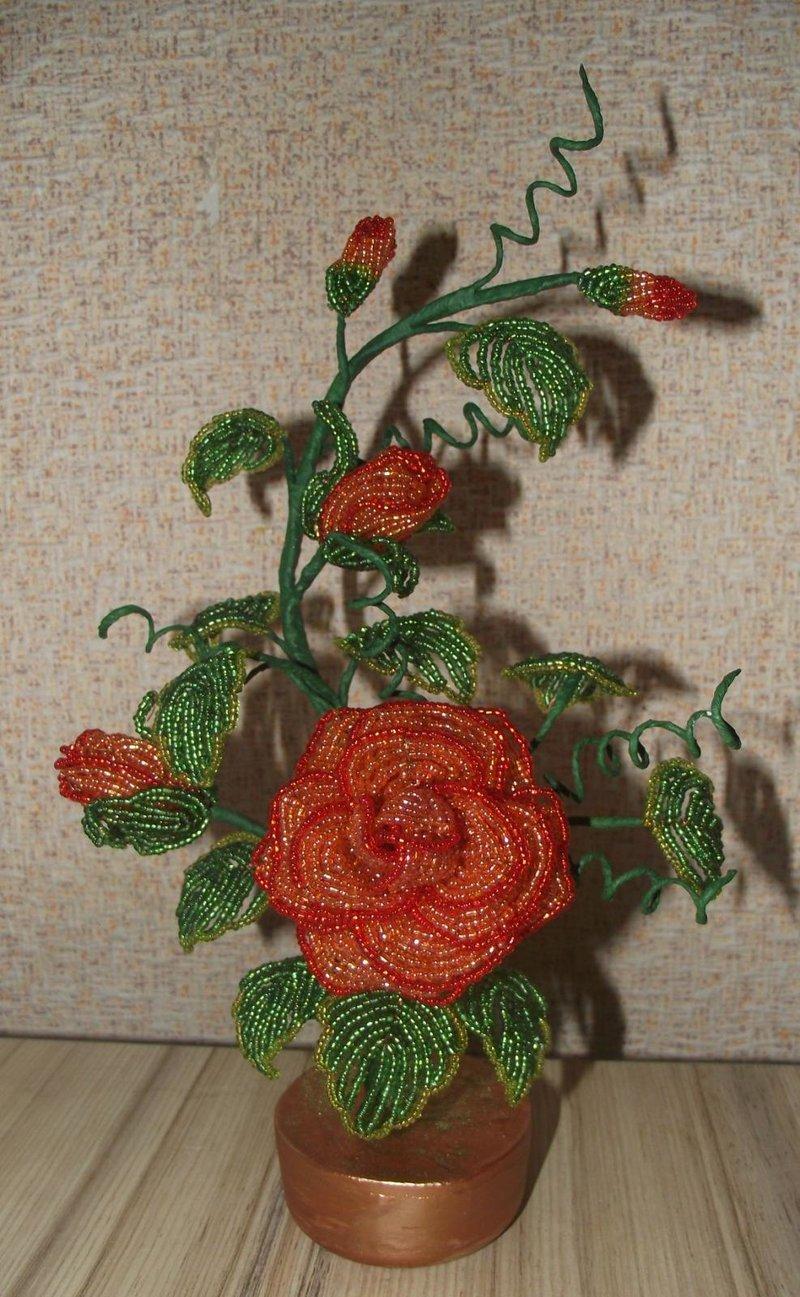 Объемные розы из бисера мастер класс с пошаговым
