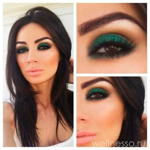 Как сделать макияж смоки айс с зелеными  266
