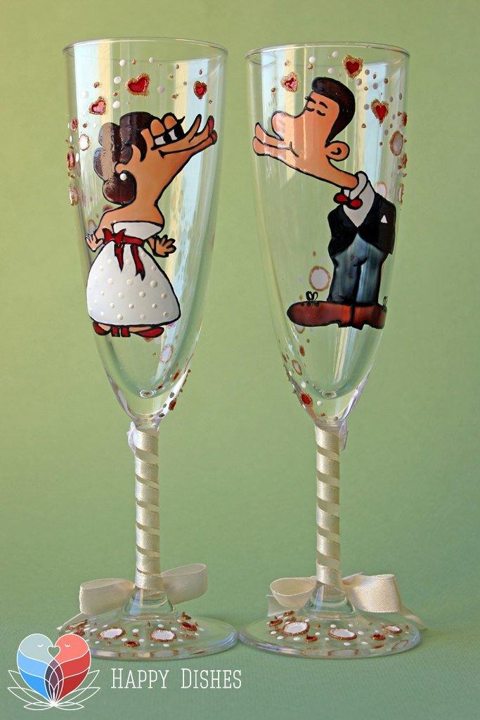 Чем расписать бокалы на свадьбу своими руками 501