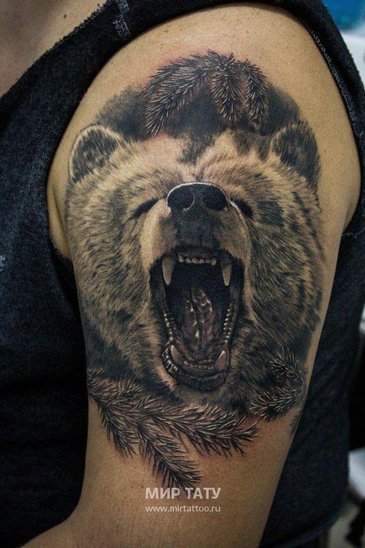 Тату волка и медведя
