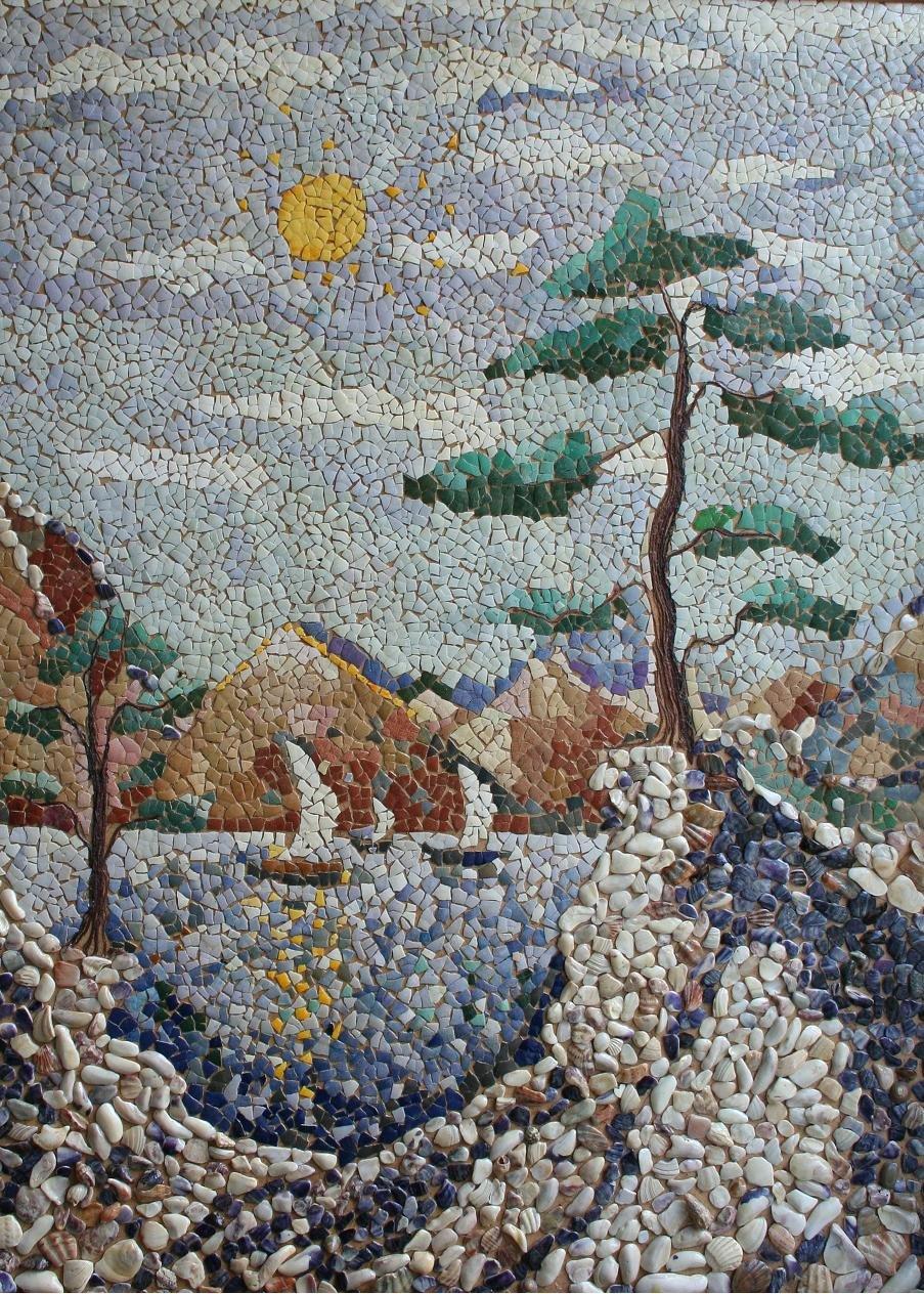 Картины из камешков своими руками фото пейзажи