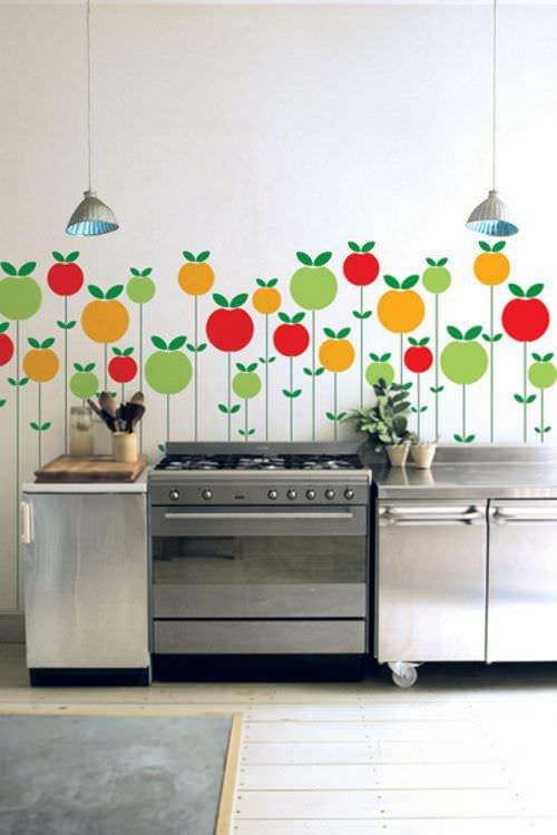 Трафареты для стен на кухне своими руками 327