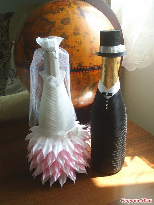 Бутылки из атласных лент своими руками мастер класс