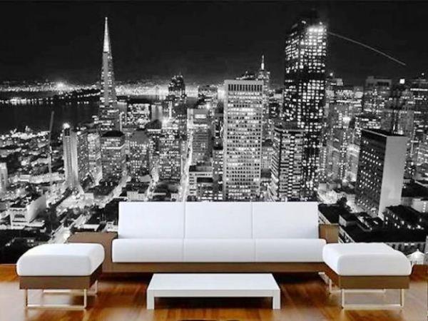 Черно-белые фотообои города в интерьере фото