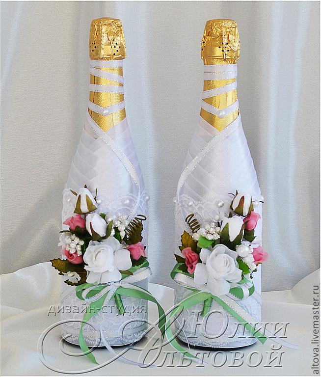 Украшение бутылки на свадьбу лентами своими руками