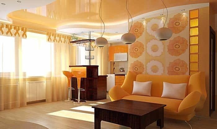 Дизайн маленького зала и кухни