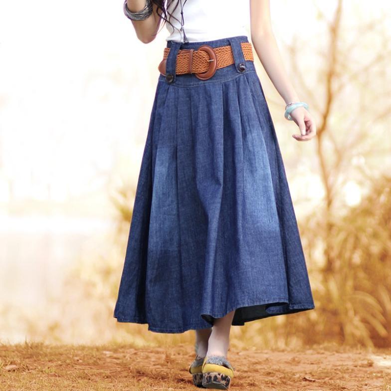 Длинная юбка из джинсовой ткани