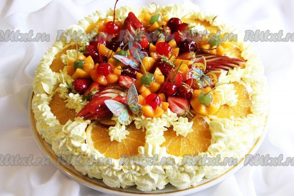 Торт с фруктами и творожным кремом рецепт пошагово