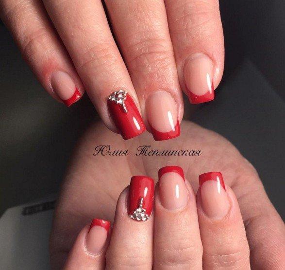 Френч на ногтях 2017 новинки красный с рисунком