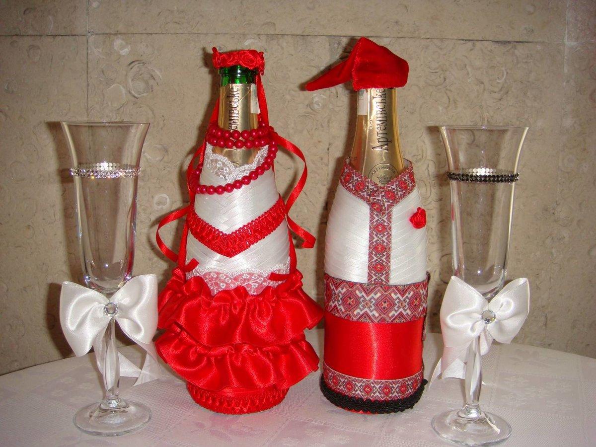 Варианты украшения свадебных бутылок своими руками 67