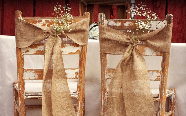 Мешковина в свадебном декоре
