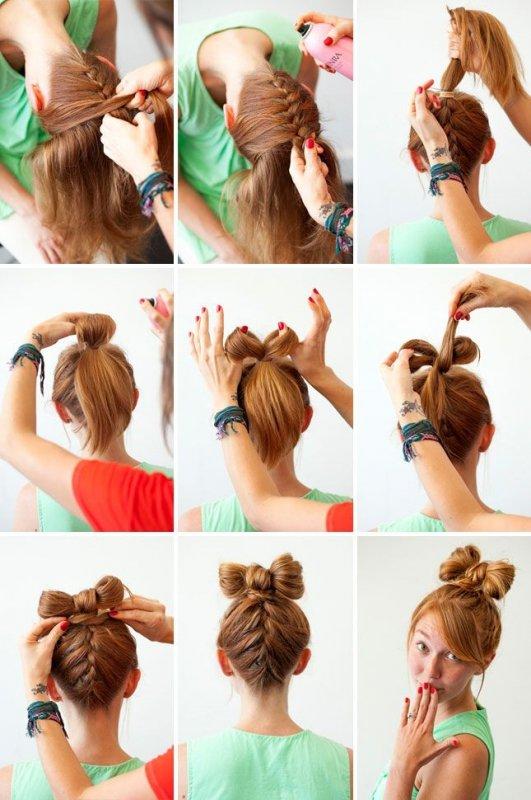 Как сделать причёску с бантиками из волос