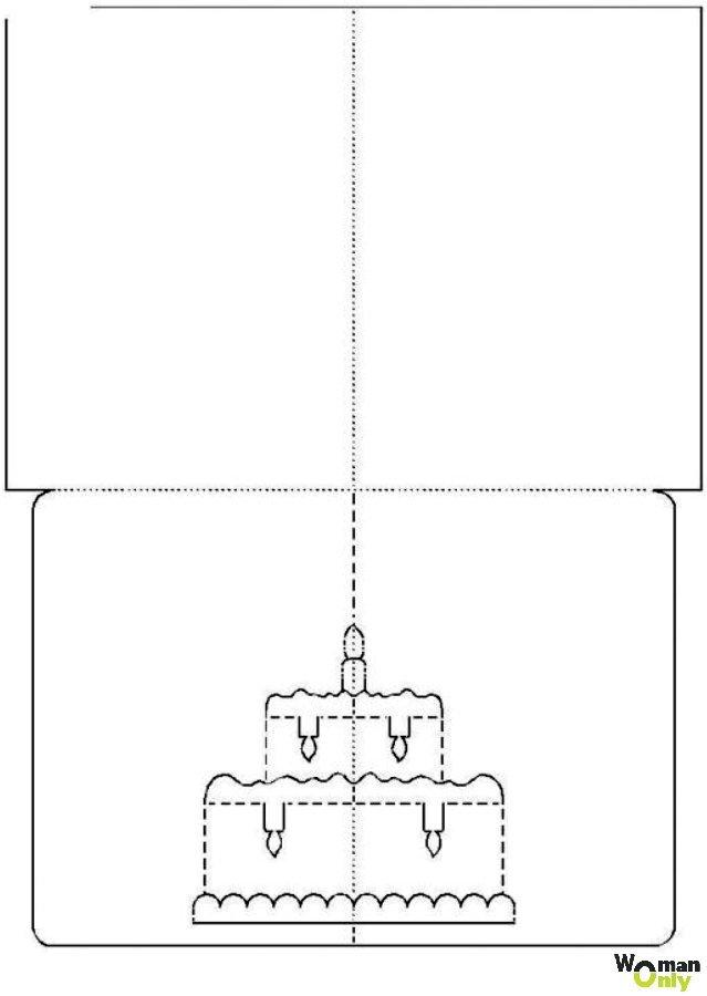 Открытка киригами шаблон схема