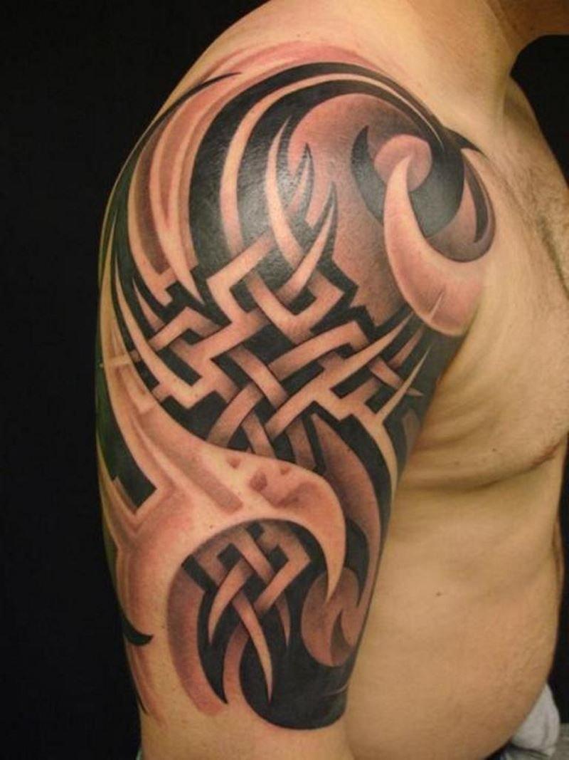 Тату кельтские узоры на плече руке