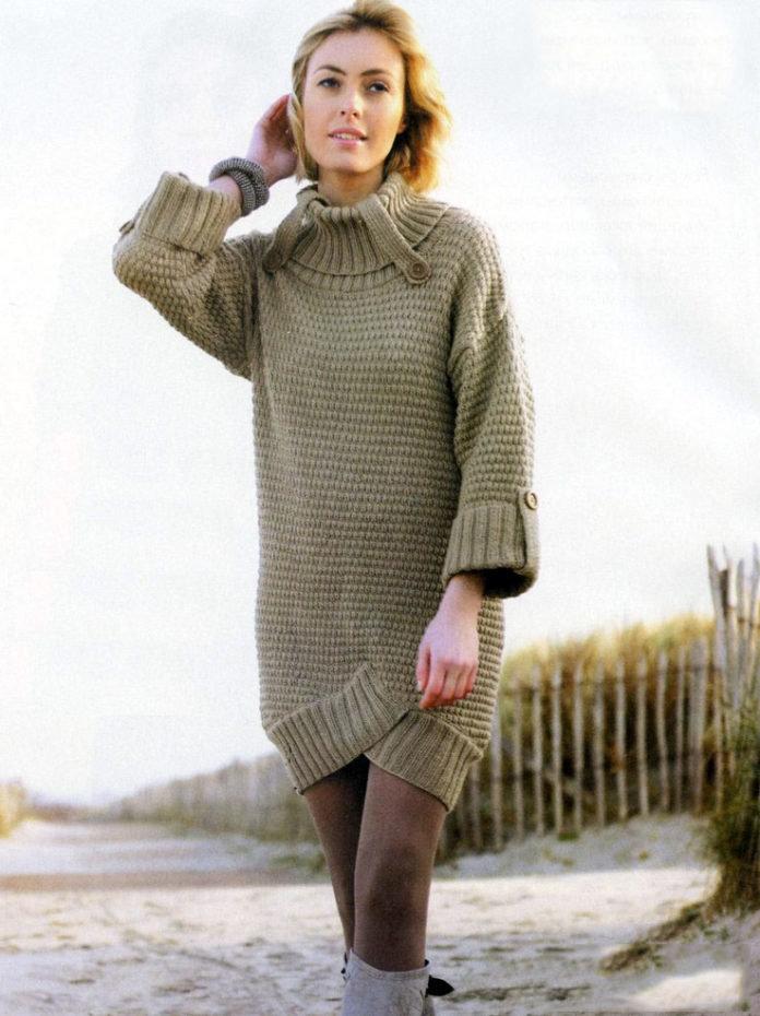 Вязание спицами туники платья зима 90