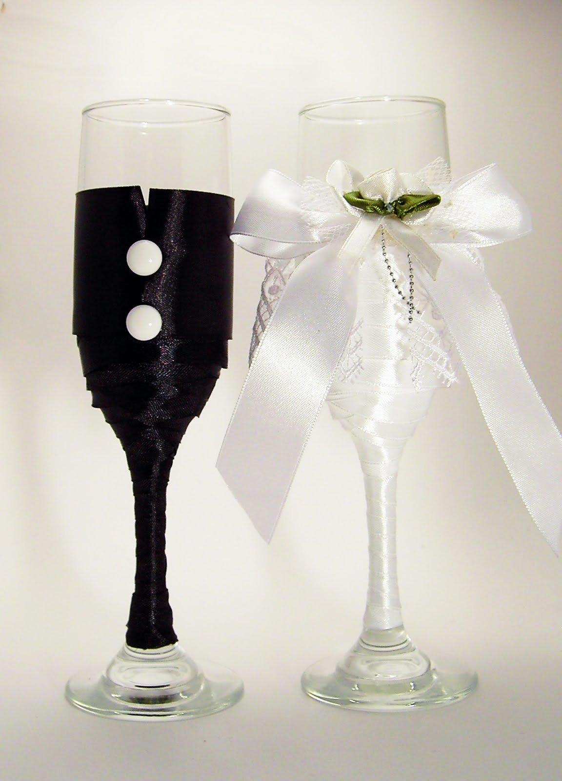 Свадебные бокалы своими руками фото пошагово жених невеста 23