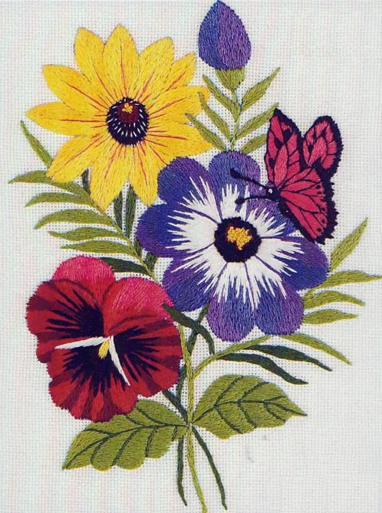 Рисунки вышивок гладью цветов 533