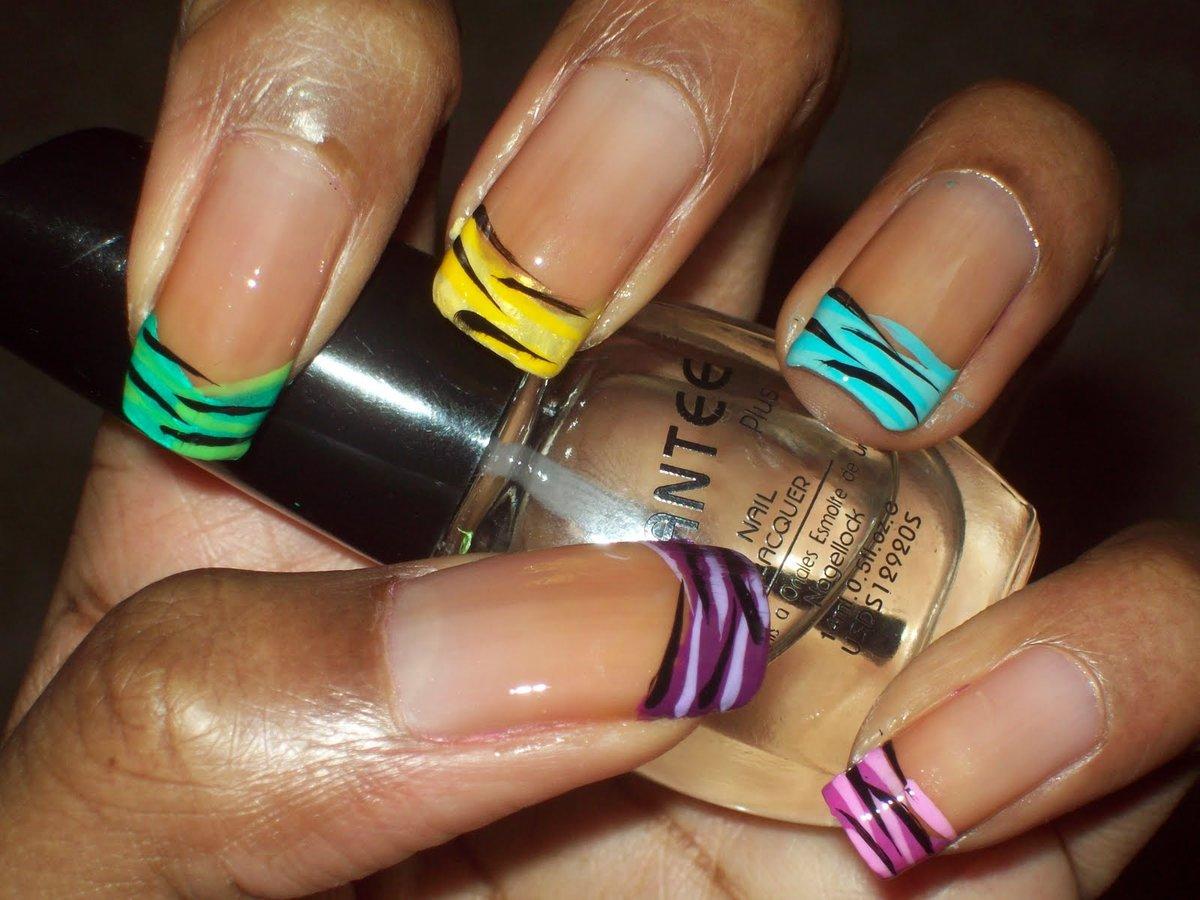 Разноцветный френч для ногтей фото
