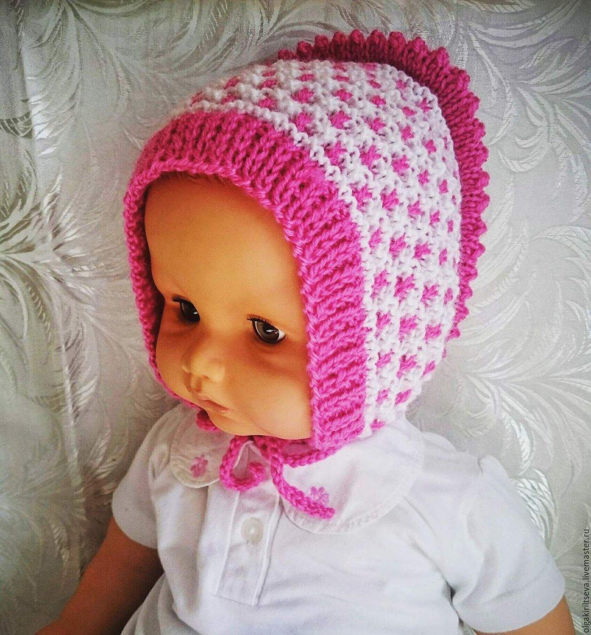 Вязание детских шапочек спицами для новорожденных