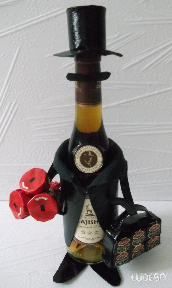 Как оформить бутылку коньяка для подарка 566