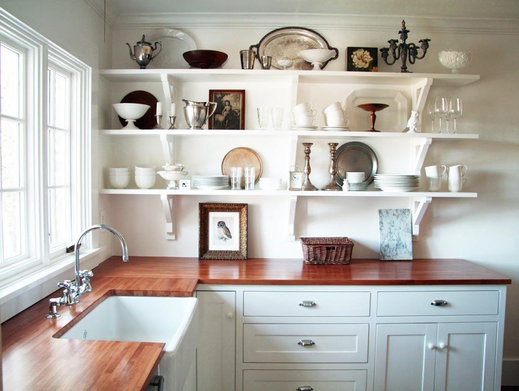 Полочки и шкафы на кухню дизайн