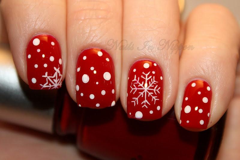 Новогодний маникюр на короткие ногти шеллаком