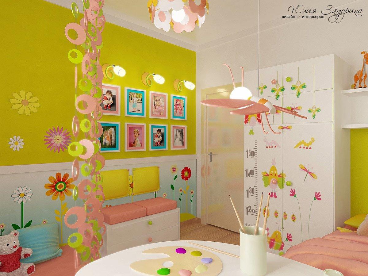 Дизайн стены своими руками в детской комнате 85