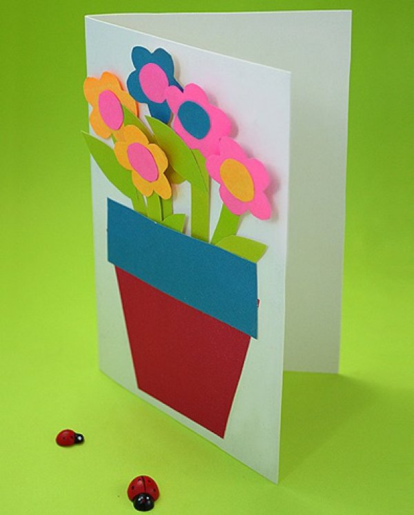 Открытка из картона цветного 70